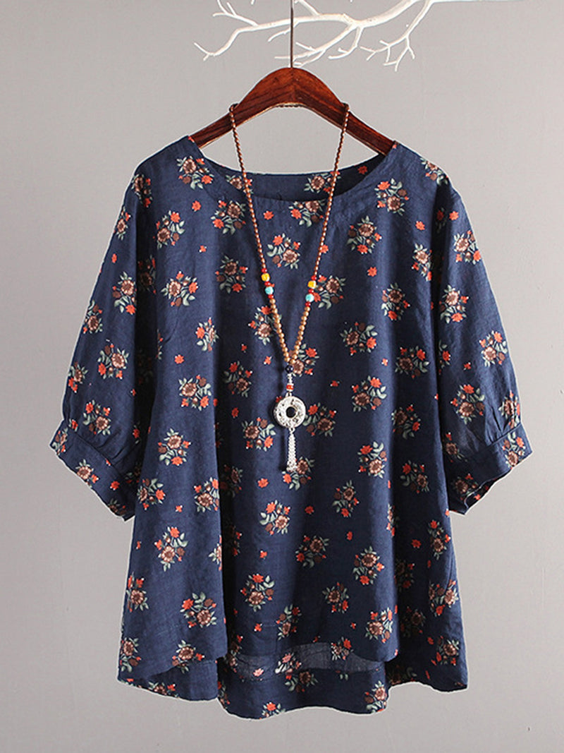 Crew Neck Casual Floral Balloon Sleeve Casual Tops
