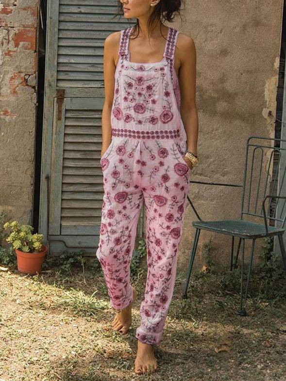 Woman Casual Sleeveless Floral Pants Overalls