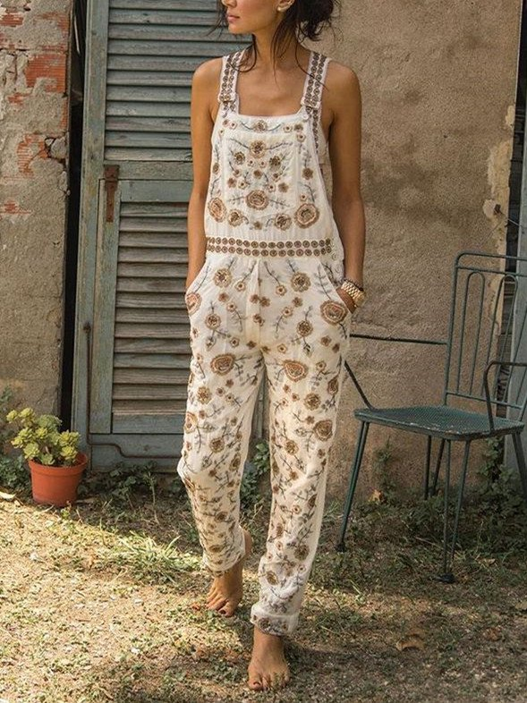 Women Casual Sleeveless Floral Pants Overalls
