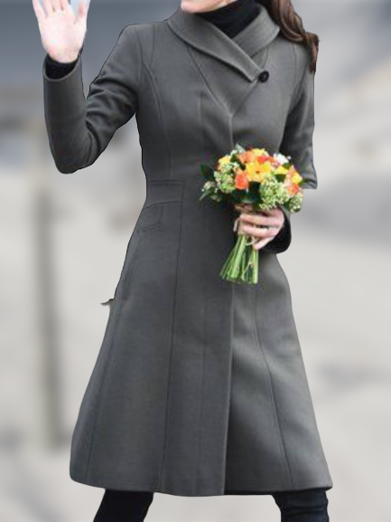 Gray Long Sleeve Plain Sheath Wool Blend Outerwear