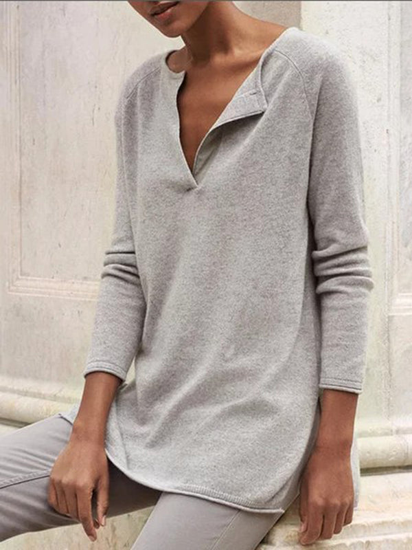 Gray Plain Casual Cotton-Blend Sweater