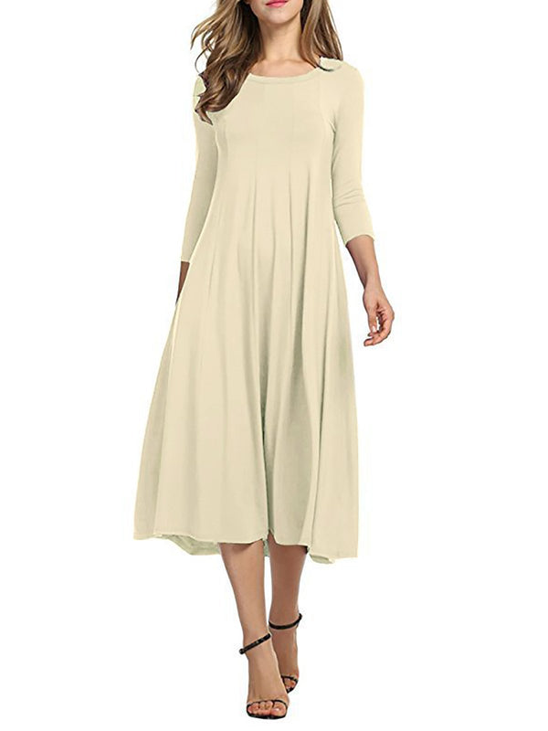 Women Cotton Elegant 3/4 Sleeve Polyester Casual Dresses
