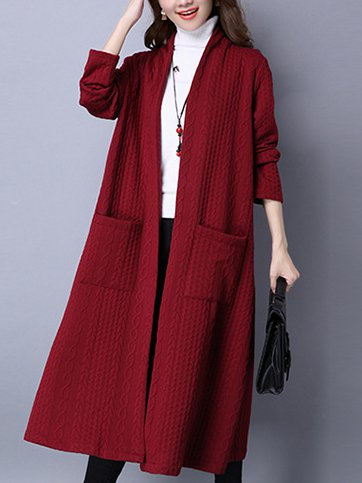 Thickened Long Sleeve Jacket Long Cardigan