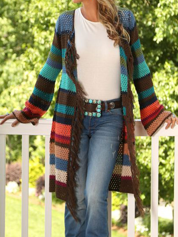 Multicolor Stripes Long Sleeve Outerwear