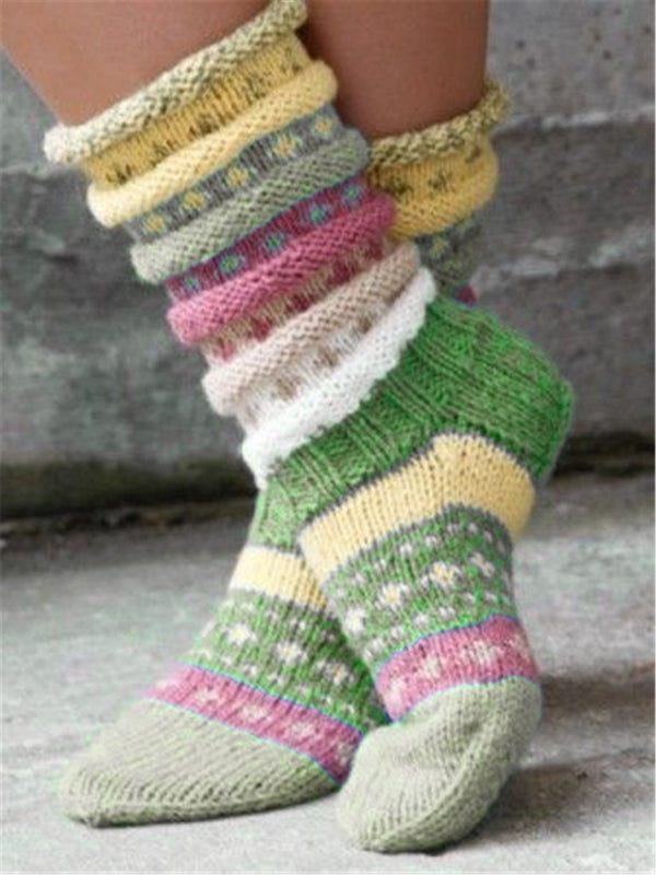 Casual Green Vintage knit fuzzy socks