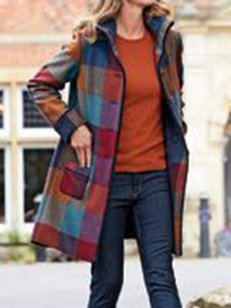 Multicolor Color-Block Long Sleeve Outerwear