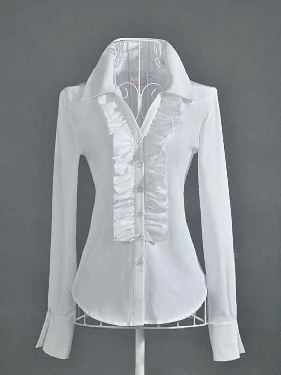 White Shirt Collar Long Sleeve Shirts & Tops