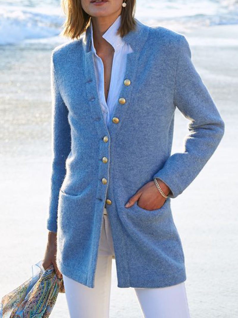 Casual Cotton-Blend Long Sleeve Outerwear