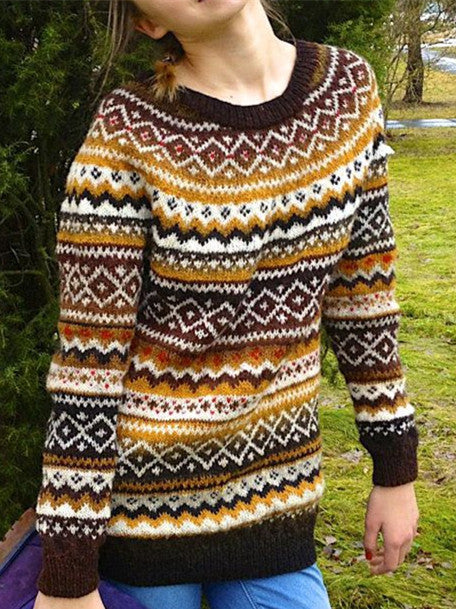 Multicolor Round Neck Boho Cotton-Blend Sweater