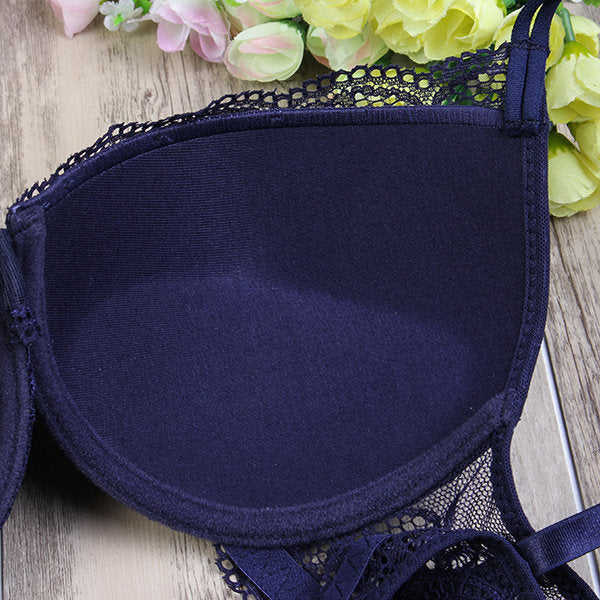 Women Sexy Embroidered Lace Bra Sets V Neck Push Up Bra Set