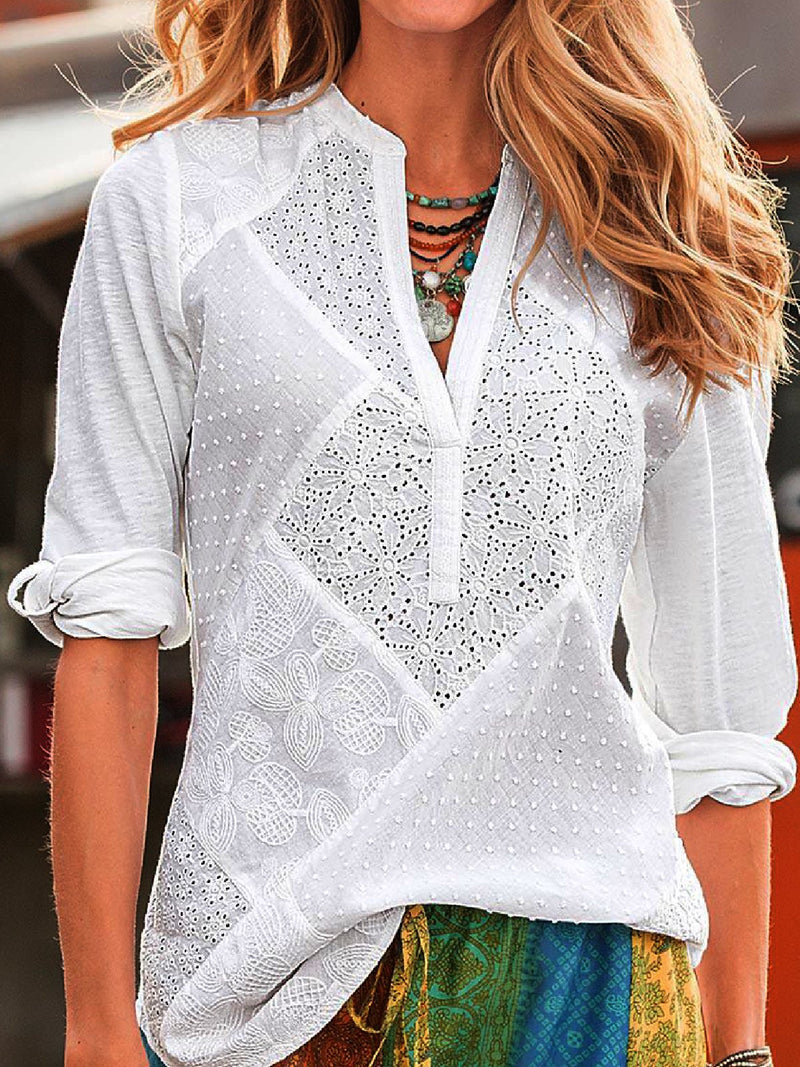 Casual Plus Size V Neck Long Sleeve Lace Cutout Blouse Shirts
