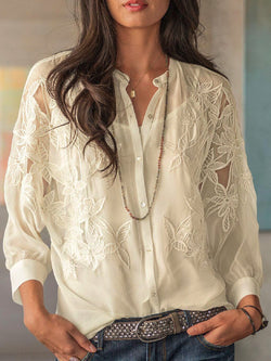 Casual Plus Size Chiffon Lace Embroidery Blouse Shirts With Cami