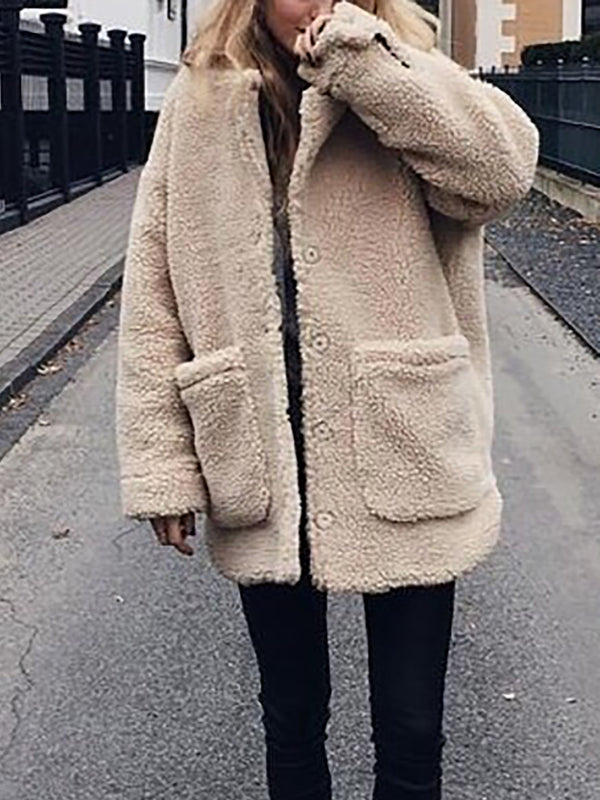 Plush button open coat