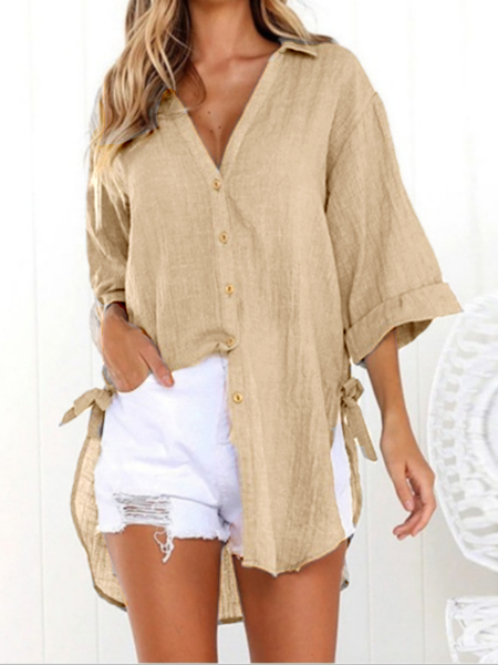 Linen Solid Lace-up Sweet Buttoned Casual Tops