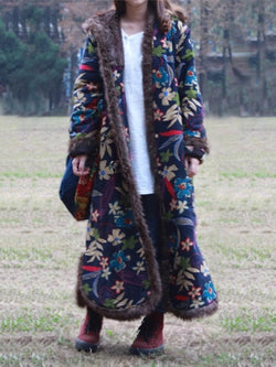 Blue Cotton-Blend Printed Vintage Hoodie plus size Outerwear