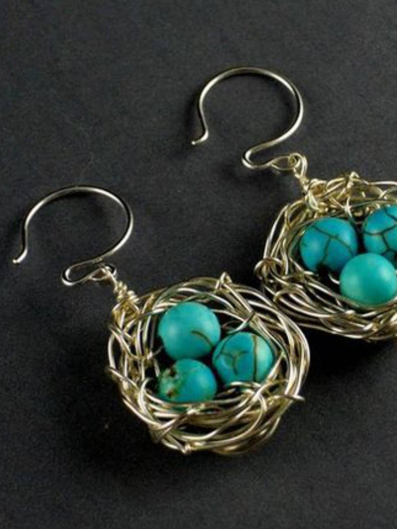 White Bird Nest Bird Eggs Earrings