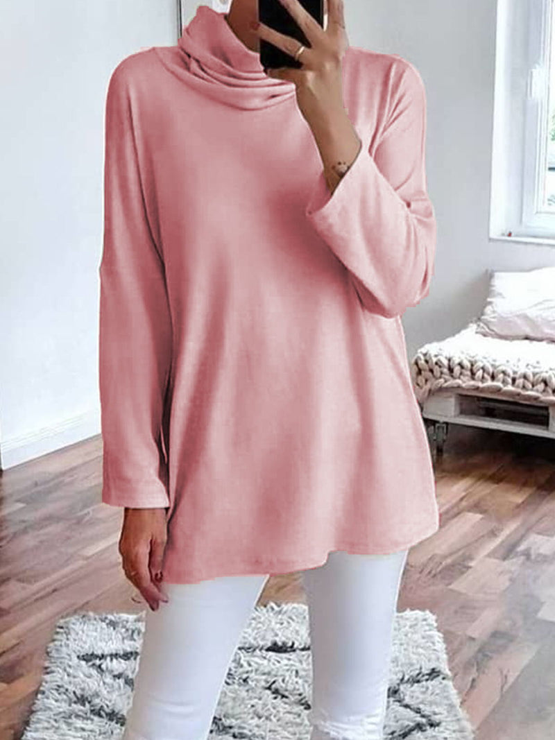 [Plus Size Casual Solid Turtleneck Long Sleeve Tops