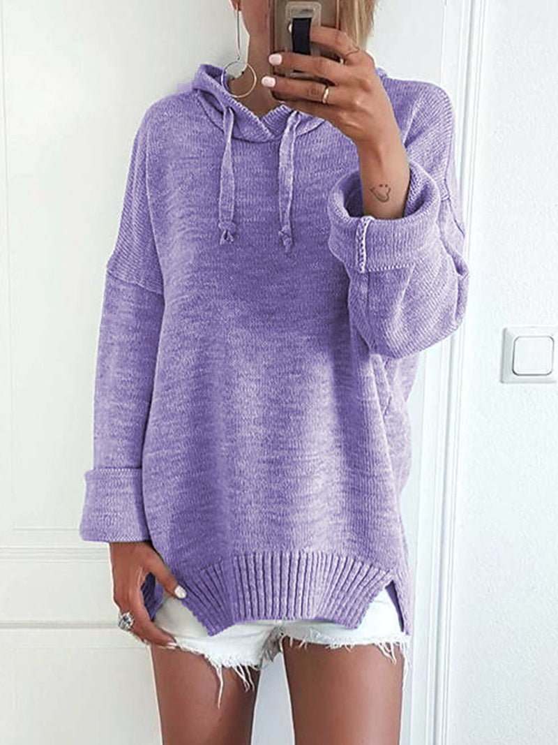 Plus Size Casual Solid  Long Sleeve Hoodie Tops