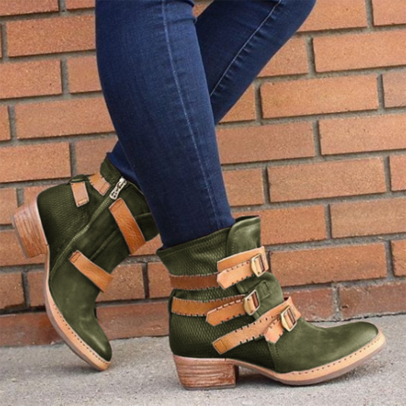 Women's Vintage Adjustable Buckle Low Heel Boots