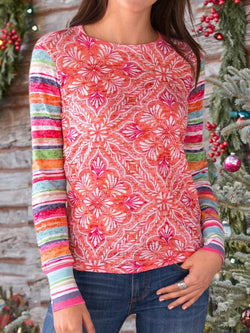 Pink Printed Casual Plus Size Blouse