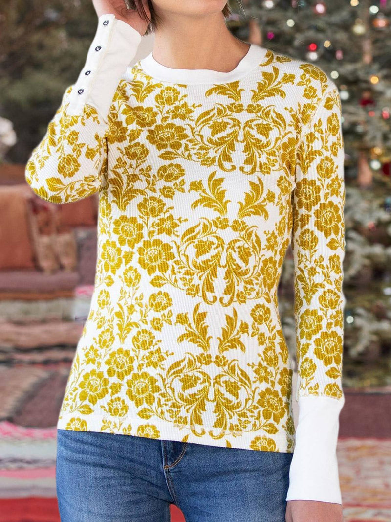 White Casual Floral Crew Neck Long Sleeve Plus Size Blouse