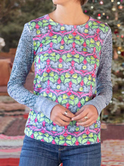 Multicolor Long Sleeve Crew Neck Printed Floral Plus Size Blouse
