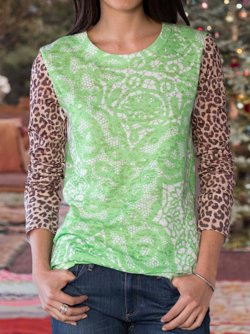 Green Floral Casual Plus Size Blouse