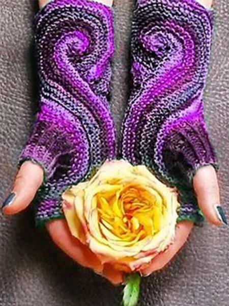 Vintage Paisley Half-finger Winter Spring Polyester Gloves