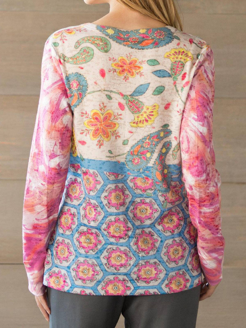 Pink Floral Long Sleeve Printed Plus Size Blouse