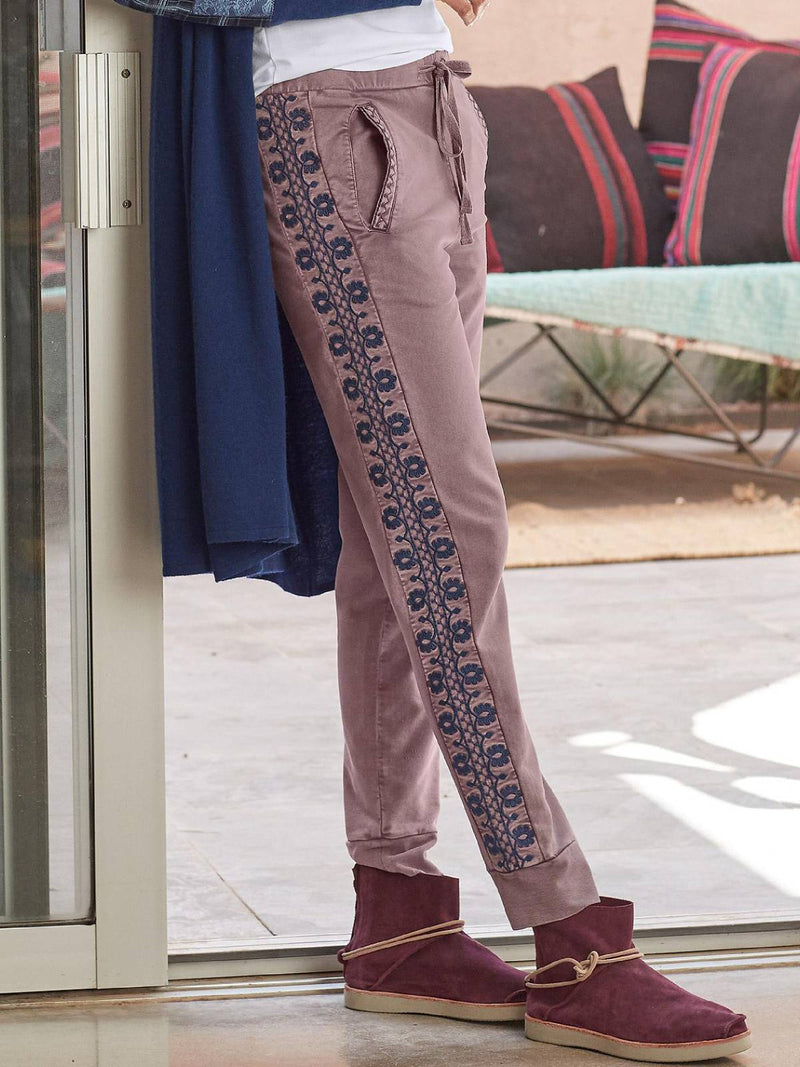 Light Purple Embroidery Casual Plus Size Pants