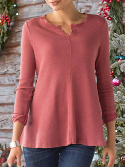 Red Solid Casual Crew Neck Plus Size Blouse