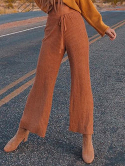Plus Size Vintage Knitted Solid Pants
