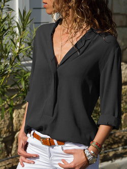 Women Long Sleeve Casual V neck Plus Size Blouse