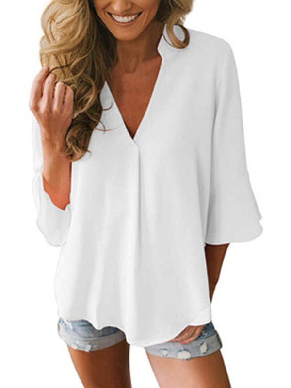 Women  3/4 Sleeve Summer White Casual V-neck Tops