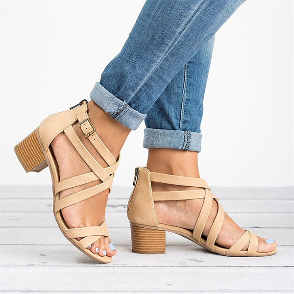 Women Fashion Criss Cross Strap Block Heel Casual Sandals