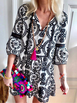 Women Boho Causal Dresses Floral-Print V Neck Half Sleeves Shift Dresses
