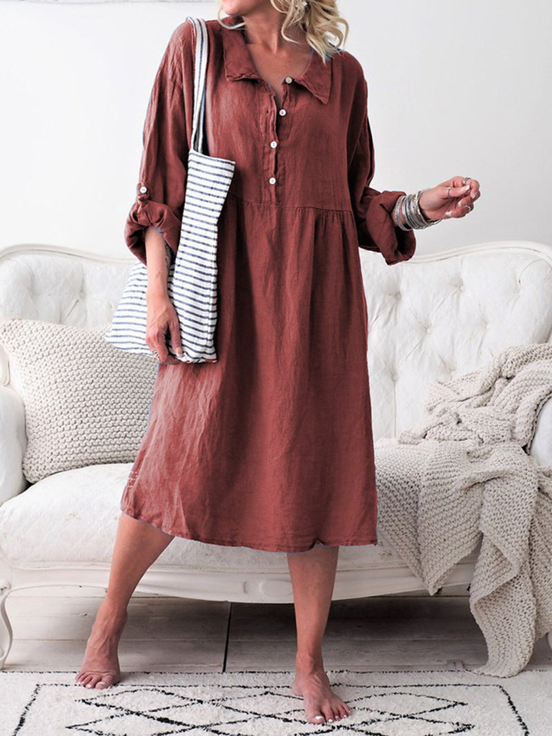 Women Summer Convertible Long Sleeves Buttoned Loose Dresses