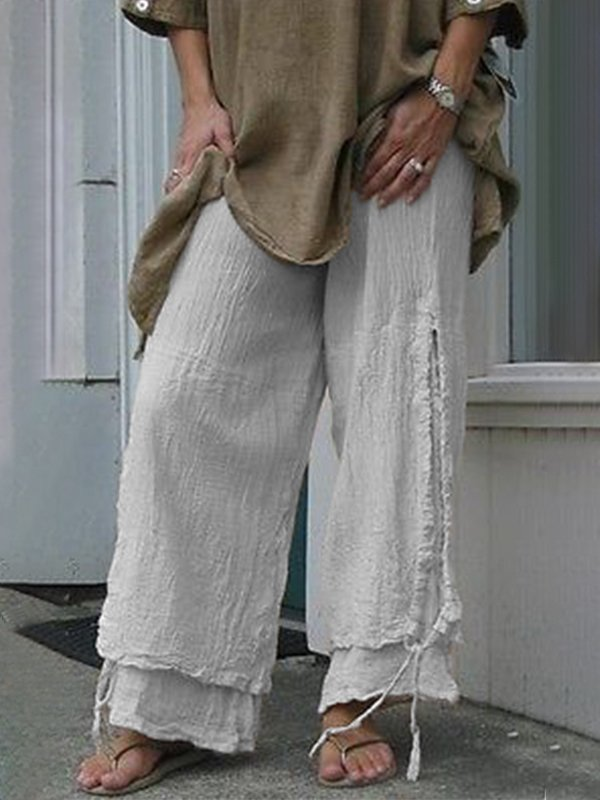Women Plus Size Linen Solid Cotton Summer Casual Pants