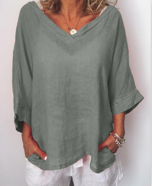 Women Thin Summer Linen Plus Size Casual Long Sleeve Solid Shirts