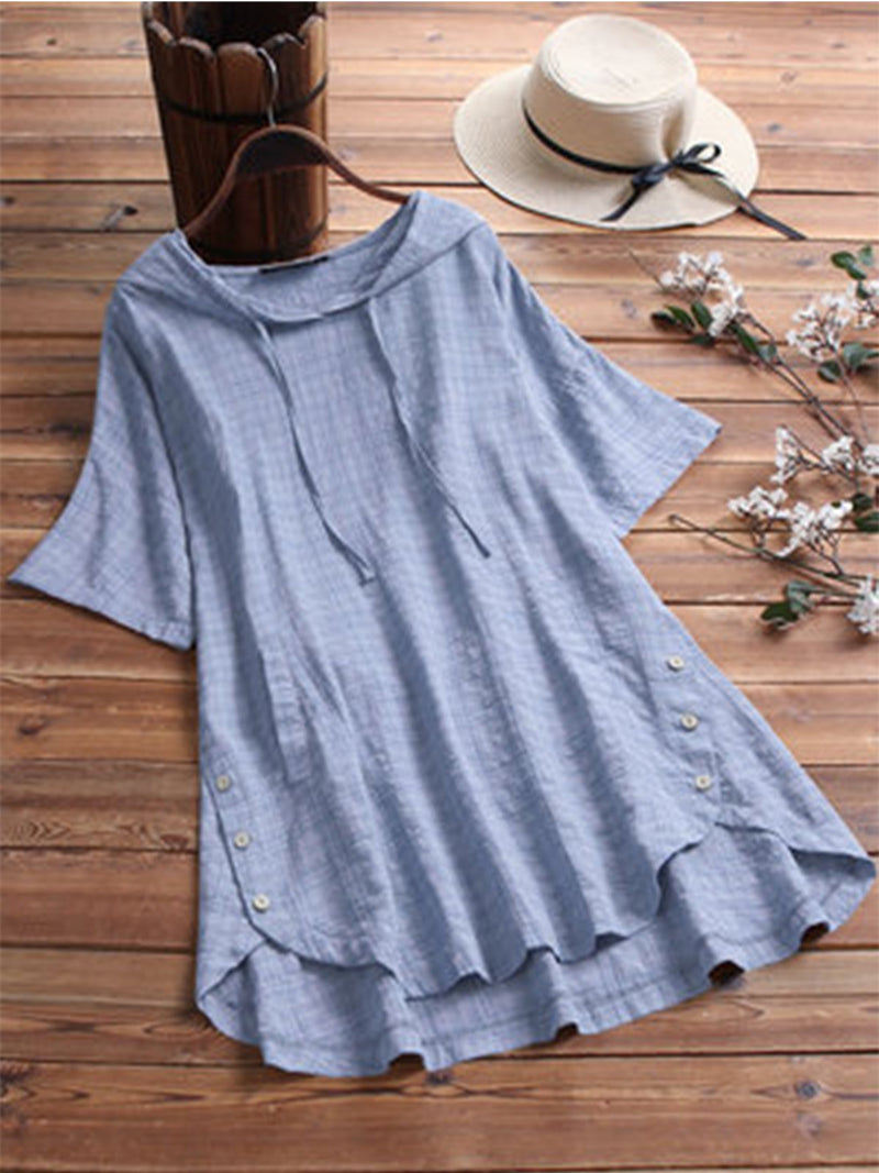 Short Sleeve Plain V Neck Casual Summer T-Shirts