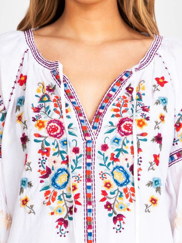 White Long Sleeve Round Neck Shirts & Tops