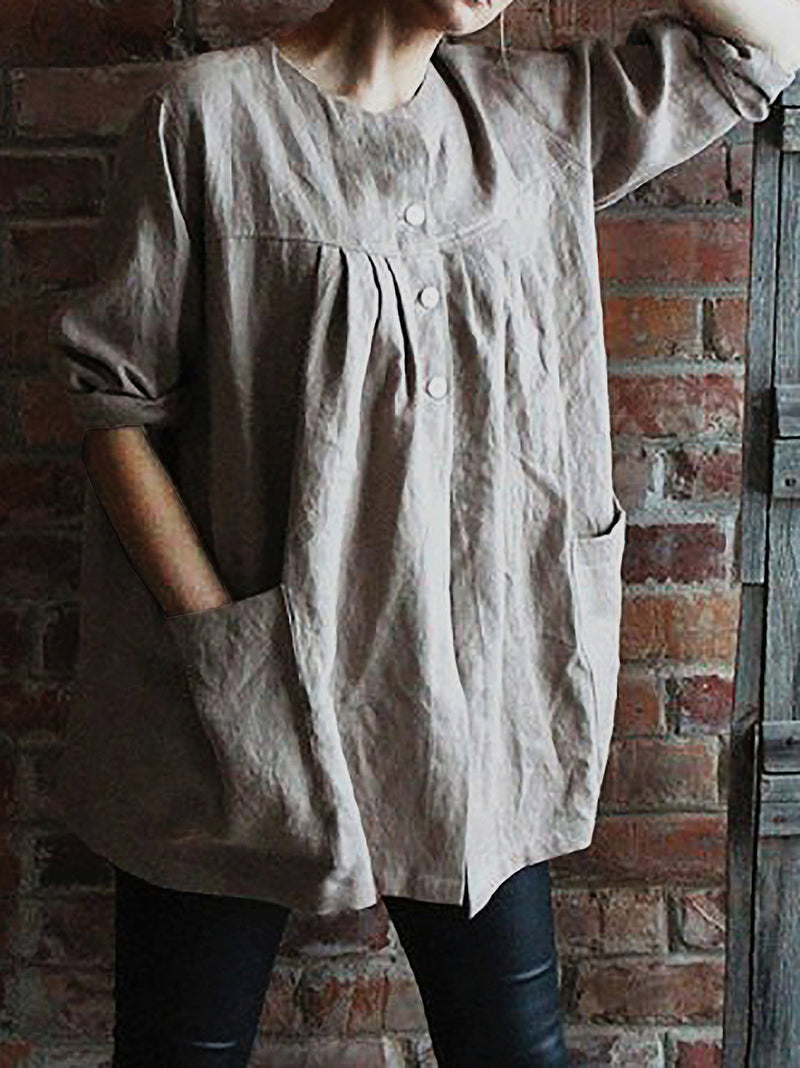 3/4 Sleeve Buttoned Down Casual Tunic Shirts
