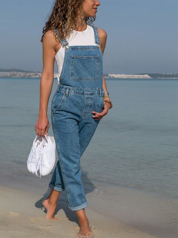 Casual Cotton Pants Denim Overalls
