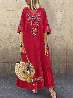 Casual V Neck Embroidered Floral Maxi Dresses