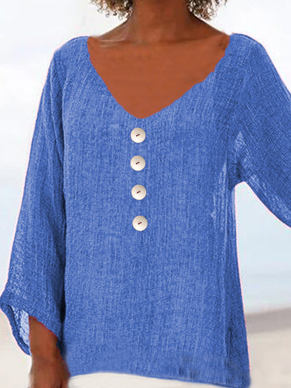 Cotton-Blend Buttoned V Neck Shirts & Tops