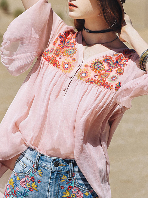 Pink Floral Casual Embroidered Shirts & Tops