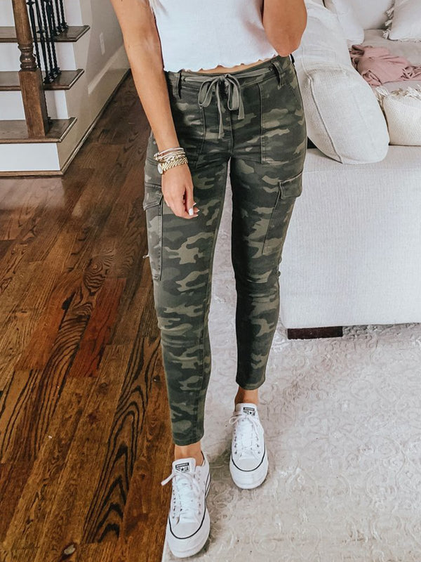 Green Camo Casual Cotton Pants