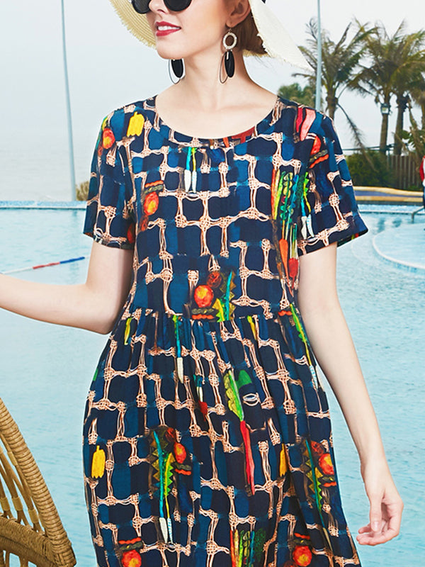 Navy Blue Dresses A-Line Going Out Paneled Abstract Dresses