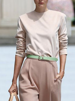 Elegant Shift Solid Top With Pants Two-piece Set
