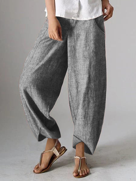Pockets Natural Casual Plain Linen Pants